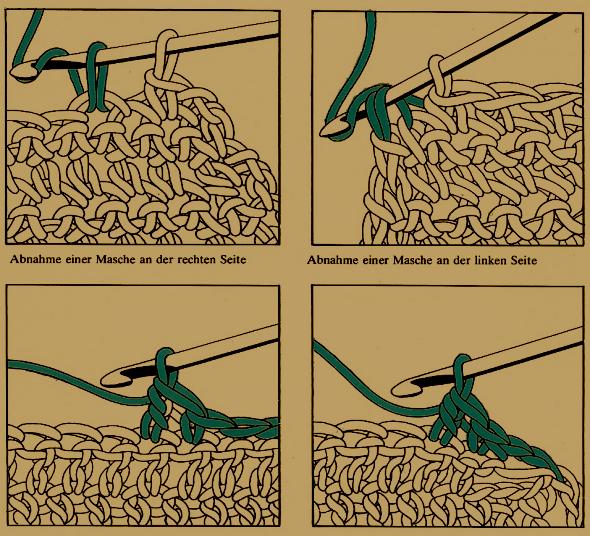 Handarbeitszirkel Abnehmen An Der Seitenkante Der Arbeit Beim Häkeln