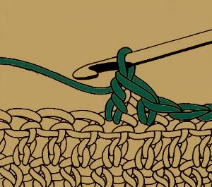 Abnehmen an der Seitenkante der Arbeit beim Häkeln
