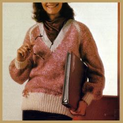 Damen Pullover mit V -Ausschnitt und Kontrastblenden