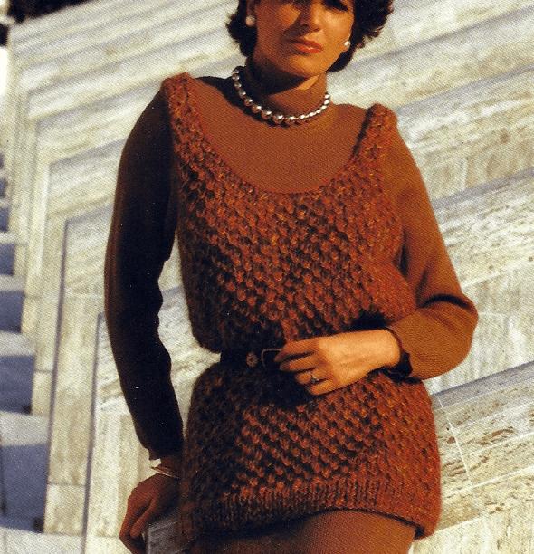 Damen Pullunder mit weitem Ausschnitt, kostenlose Strickanleitung