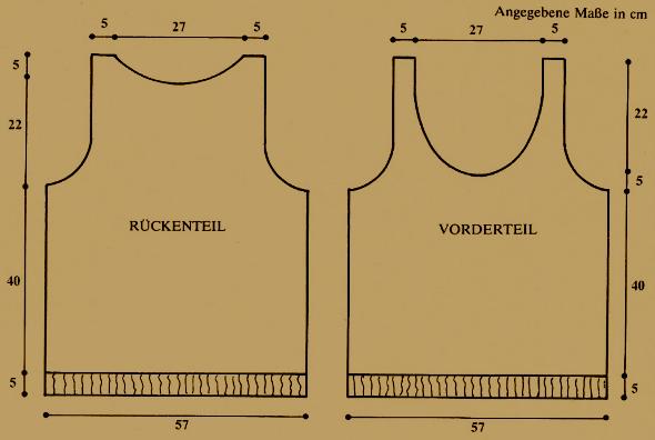 Rückenteil und Vorderteil