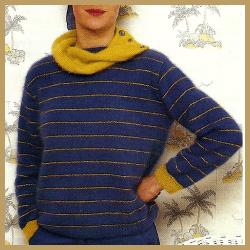 Damen Streifenpullover mit Schalkragen, kostenlose Anleitung