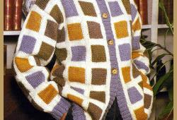 Damen Strickjacke mit Würfelmuster, kostenlose Strickanleitung