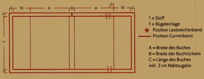 Genähte Buchhülle mit Lesezeichen, Größe: 13,5 x 19 x 4 cm