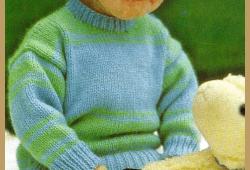Gestreifter Babypullover, kostenlose Anleitung zum stricken