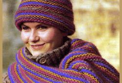 Gestreifter Schal mit Mütze, kostenlose Anleitung zum stricken