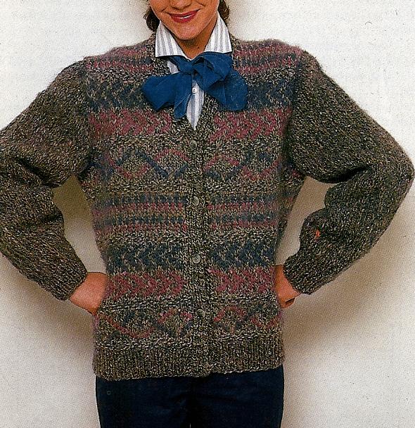 Gestrickte Damen Tweed Jacke mit farbigem Einstrickmuster