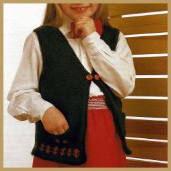 Gestrickte Mädchen Weste mit eingestrickten Motiven stricken