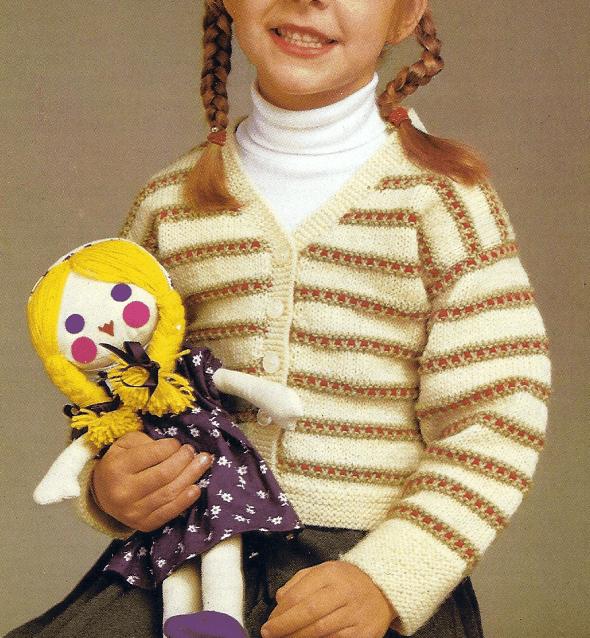 Handarbeitszirkel | Selbst Gestrickte Mädchen Weste mit gestreiftem ...