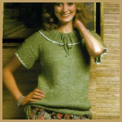 Gestrickter Damen Pullover mit Ajourkragen