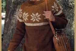 Gestrickter Herrenpullover mit Norwegermuster, in drei Farben