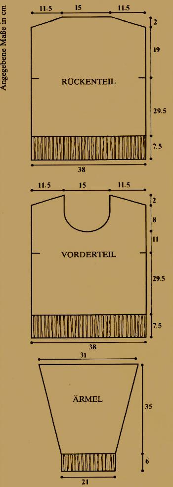 Angegebene Maße in cm