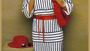Gestricktes Kleid mit Streifen