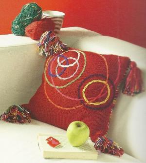 Gestrickte Kissenhülle, Kunterbunt und dekorativ