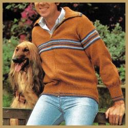 Herren Strickjacke mit Reißverschluss aus mittel dicker Wolle gestrickt