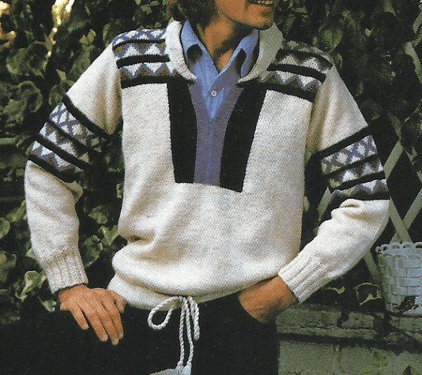 Herren Strickpullover mit Musterstreifen, Strickanleitung