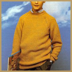 Jungen Pullover mit apartem Halsverschluß stricken