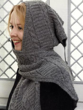 Kapuzenschal Stricken mit Alpaka Wolle in Stein, Anleitung