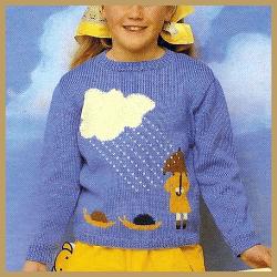 Kinder Pullover mit Regenschauermotiv, kostenlose Anleitung