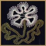 Klöppel Modell Blume Technik, Leinenschlag, Ganzschlag