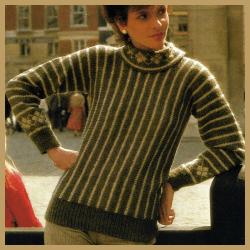 Quergestrickter Streifenpullover für Damen selber stricken