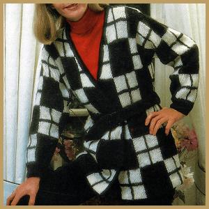 Strickanleitung Damenjacke mit Würfelmuster, zeitlos modern