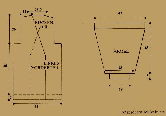 Strickanleitung Damenjacke mit Würfelmuster