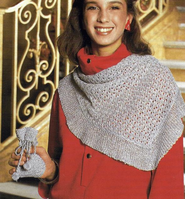 Strickanleitung Elegantes Umschlagtuch mit Tasche