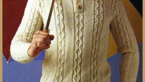 Strickanleitung Herren Pullover mit Zopfmuster und Polokragen