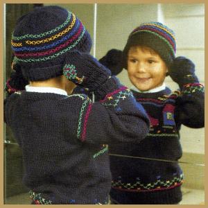 Strickanleitung Warme Mütze, Schal und Fäustlinge für Kinder