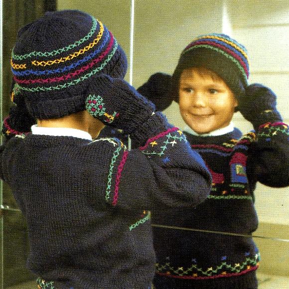 Strickanleitung Warme Mütze, Schal und Fäustlinge