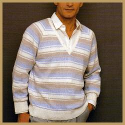 V-Ausschnitt-Herrenpullover mit dreifarbigen Streifen stricken