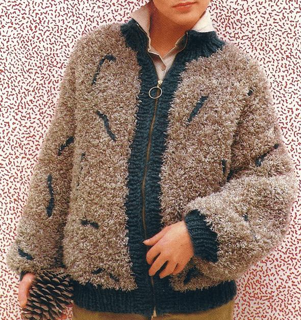 Warme gestrickte Flauschjacke für Damen, kostenlose Anleitung