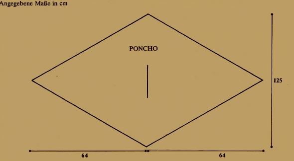 Warmer gestrickter Poncho, Strickanleitung mit drei Fäden