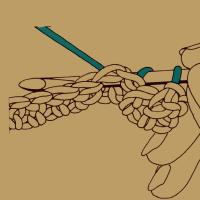 Reliefmaschen hinten auf festen Maschen