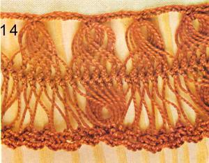 Muster einer Bordüre in Gabelhäkelei
