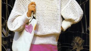 Gestrickter luftiger Baumwollpullover, Strickanleitung