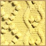Strickmuster Noppenrhombe und glatte Rhombe