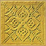 Aus der Mitte gestricktes Quadrat