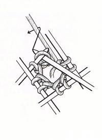 Aus der Mitte gestricktes Quadrat für Mützen
