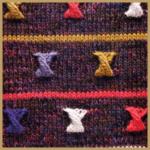 Strickmuster Farbige Schleifen, Knotenstich und Zweifarbiges Zopfmuster