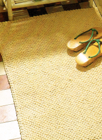 Teppich aus Topflappengarn stricken