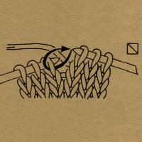 Strickschriften 1 Masche mit hintergelegtem Faden wie zum Linksstricken abheben