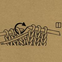 Strickschriften 1 Masche mit vorgelegtem Faden wie zum Linksstricken abheben