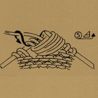 Für eine Noppe in der Rückreihe nach der 2. Masche einstechen, 1 Schlinge holen, 1 Umschlag bilden, 1 Schlinge holen, 1 Umschlag bilden und 1 Schlinge holen. Die 2 übergangenen Maschen links zusammenstricken. In der folgenden Hinreihe werden die 5 Noppenmaschen rechtsverschränkt zusammengestrickt.