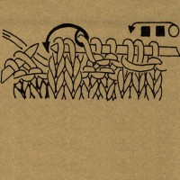 1 Umschlag bilden, 2 Maschen rechts stricken, den Umschlag über die 2 Rechtsmaschen ziehen. Die Klammern mit einer Zahl über einer Strickschrift geben das Abhäkeln der Maschen nach Ausführung einer Strickarbeit an, und zwar faßt man mit je 1 festen Masche die durch Klammer verbundenen Maschen zusammen und häkelt danach so viele Luftmaschen, wie die Zahl angibt. Fehlt diese Zahl, werden keine Luftmaschen ausgeführt.