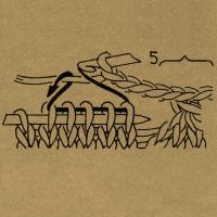 Die Klammern mit einer Zahl über einer Strickschrift geben das Abhäkeln der Maschen nach Ausführung einer Strickarbeit an, und zwar faßt man mit je 1 festen Masche die durch Klammer verbundenen Maschen zusammen und häkelt danach so viele Luftmaschen, wie die Zahl angibt. Fehlt diese Zahl, werden keine Luftmaschen ausgeführt.