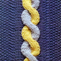 Zweifarbiges Zopfstrickmuster stricken